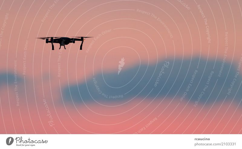 Drone flies over a colourful sunrise sky. Summer Sun Ocean Technology Nature Landscape Sky Clouds Aircraft Flying Pink Red Colour colorful Clear sky sunny
