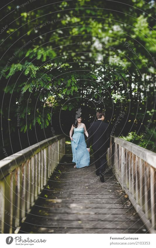 Human being Woman Nature Youth (Young adults) Man Blue Tree Leaf 18 - 30 years Adults Feminine Happy Masculine Park Romance Bridge