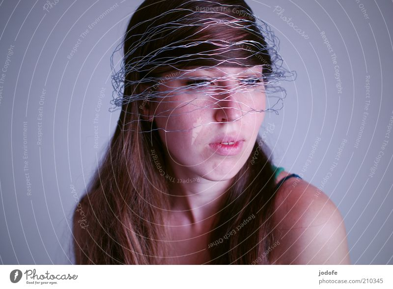 wired Human being Feminine Young woman Youth (Young adults) Woman Adults Face 1 18 - 30 years Brunette Long-haired Carrying Dream Wire Wrapped around Packaged