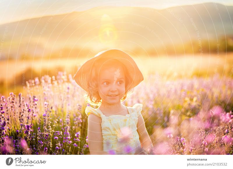 Golden light Child Girl Sister 1 Human being 3 - 8 years Infancy Nature Landscape Earth Sun Sunrise Sunset Summer Field Dress Hat Playing Free Happiness Natural
