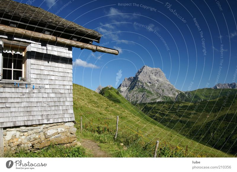 Nature Summer Vacation & Travel House (Residential Structure) Loneliness Far-off places Meadow Wall (building) Mountain Stone Wall (barrier) Lanes & trails