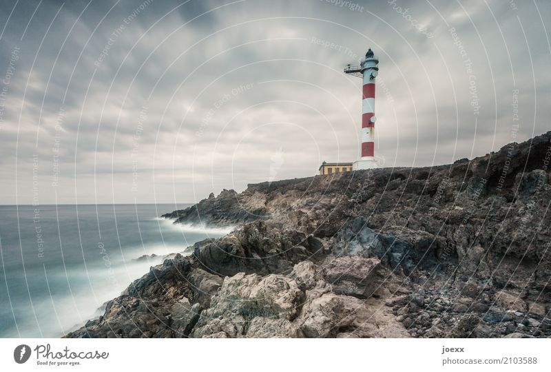 Keep breathing Water Clouds Horizon Rock Waves Coast France Lighthouse Large Infinity Maritime Blue Brown Red White Safety Protection Colour photo