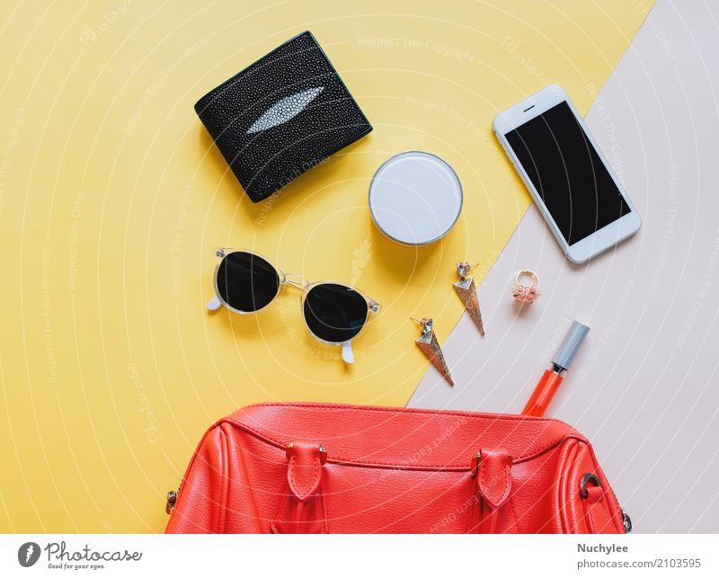 woman bag open out with cosmetics Elegant Style Design Beautiful Make-up Lipstick Vacation & Travel Telephone PDA Technology Feminine Woman Adults Fashion