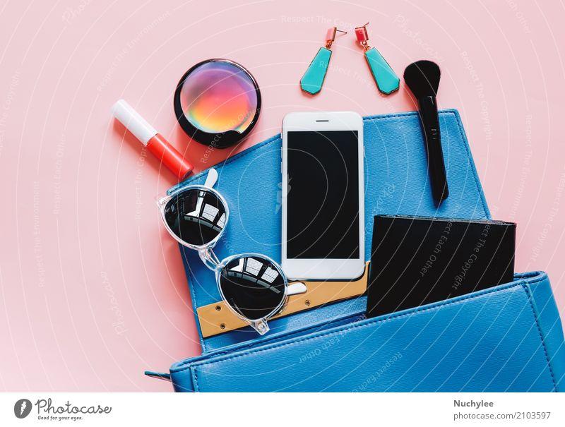 Flat lay of woman bag and accessories Elegant Style Design Beautiful Make-up Lipstick Telephone PDA Technology Feminine Woman Adults Fashion Leather Accessory