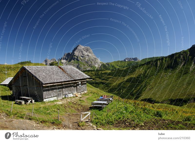 Nature Summer House (Residential Structure) Far-off places Relaxation Meadow Mountain Landscape Hiking Environment Horizon Rock Climate Alps Hill Peak