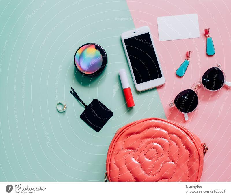 Flat lay of woman bag Elegant Style Design Skin Make-up Lipstick Vacation & Travel Telephone PDA Technology Feminine Woman Adults Fashion Leather Accessory Ring