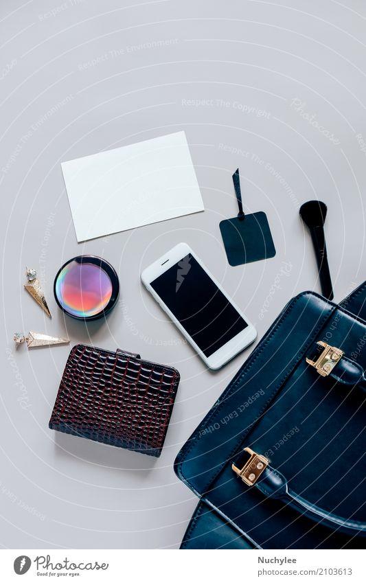 Flat lay of black leather woman bag Elegant Style Design Beautiful Skin Make-up Vacation & Travel Telephone PDA Technology Feminine Woman Adults Fashion Leather