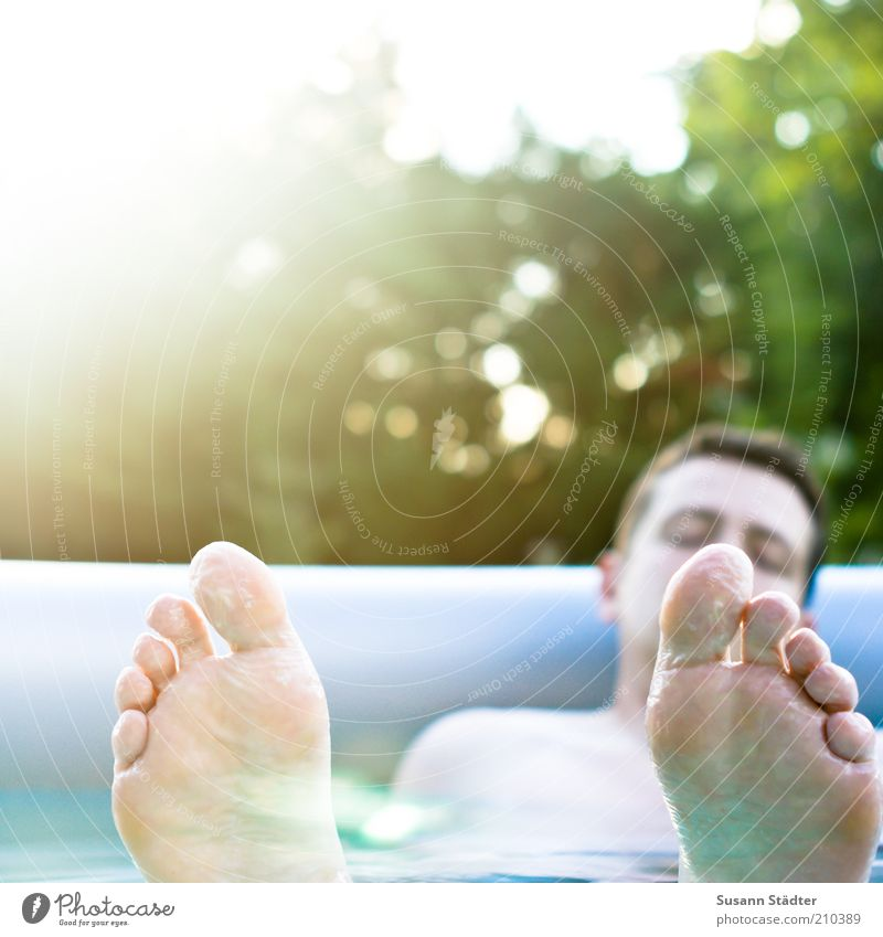 Man Youth (Young adults) Vacation & Travel Calm Adults Relaxation Garden Feet Waves Leisure and hobbies Swimming & Bathing Masculine Sleep Wellness