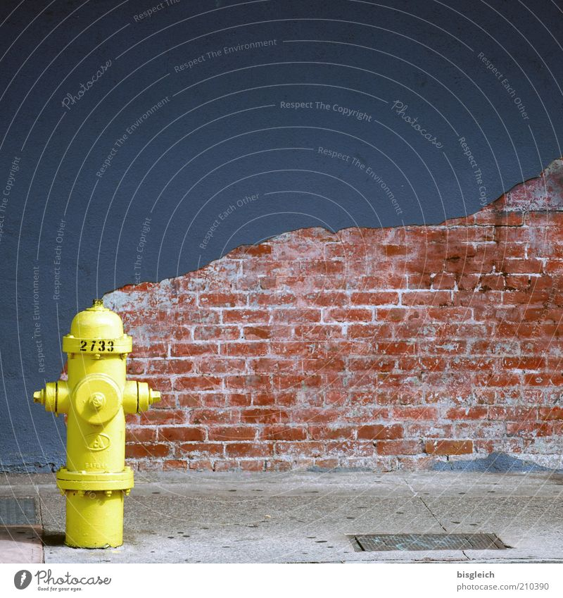 water guard Fire hydrant Wall (building) Wall (barrier) Brick Street USA Americas Yellow Facade Plaster Brick wall Sidewalk Deserted Copy Space top