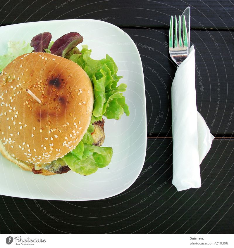 Nutrition Table Crockery Delicious Bread Plate Meat Meal Roll Knives Lunch Lettuce Fork Fast food Hamburger Wooden table