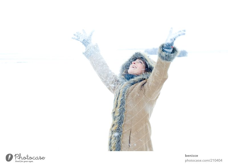 Woman Human being Nature Hand Youth (Young adults) Beautiful Joy Winter Cold Snow Above Happy Laughter Snowfall Arm Tall