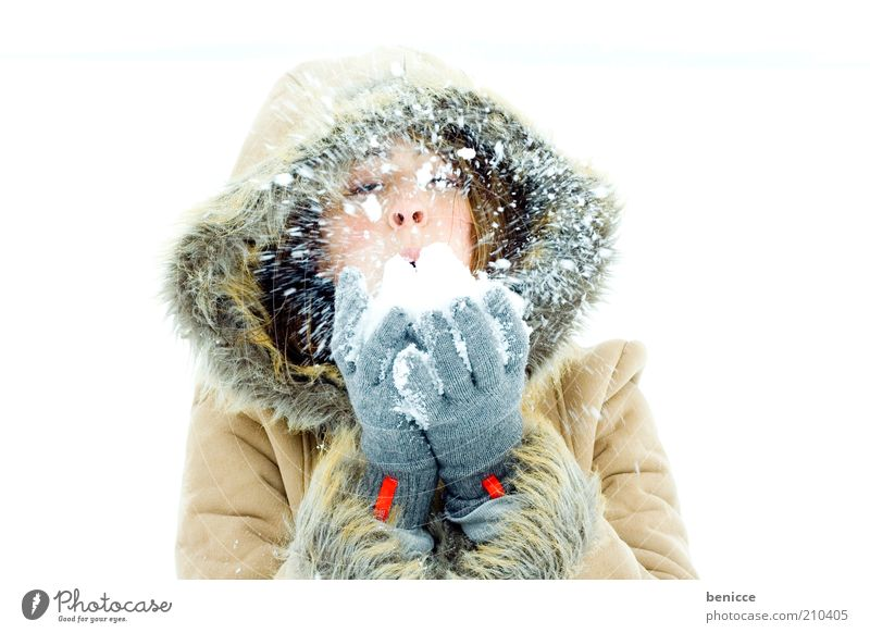 snowblow Woman Human being Snow Snowfall Winter Smiling Joy Coat Winter coat Hooded (clothing) Beautiful Nature Winter vacation Vacation & Travel Attractive