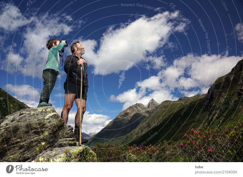 Human being Sky Nature Summer Landscape Mountain Environment Rock Beautiful weather Climate Observe Peak Hill Alps Alpine pasture Binoculars