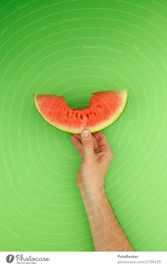 #AS# melon+bite=sutsch Art Kitsch Derby Melon Melone slice Bite Trenchant Firm to the bite Delicious Eating Healthy Eating Fruit Fruit store Summer