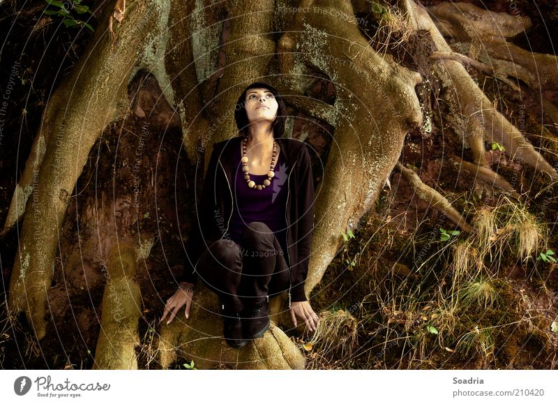 Human being Woman Nature Youth (Young adults) Beautiful Tree Loneliness Calm Adults Dark Dream Moody Young woman Contentment Sit 18 - 30 years