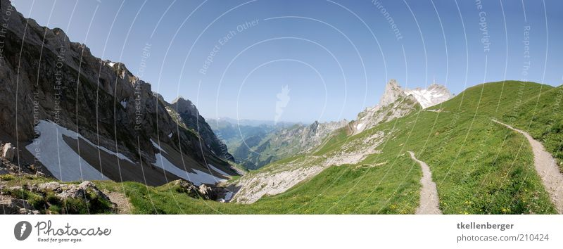 highly elevated Nature Cloudless sky Summer Mountain Alpstein Mount Säntis kurfries Footpath Freedom Valley snowfield Rock Mountain meadow Sky Colour photo