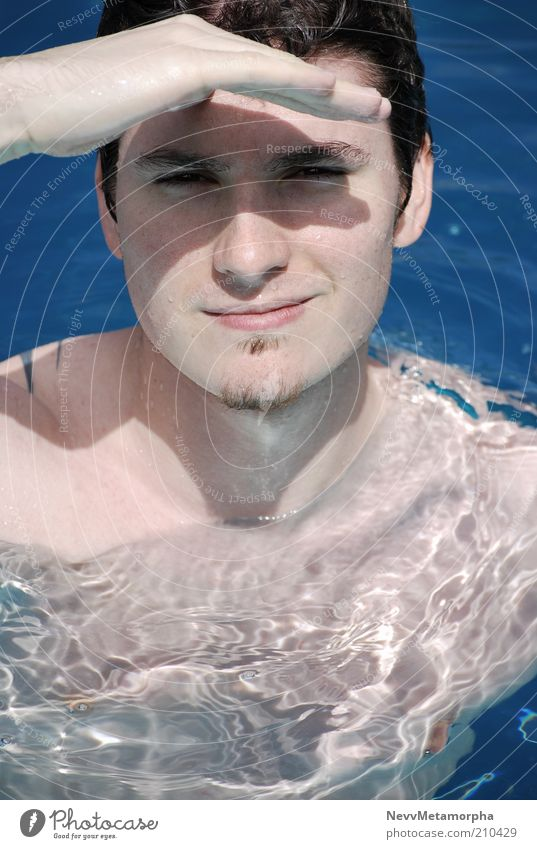 Aye Captain Water Face Portrait photograph Blue Narrowed Men`s hand Shadow Beard hair Tattoo Naked flesh Friendliness Looking into the camera Weather protection