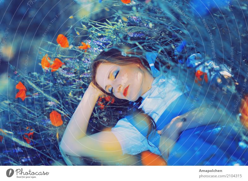 Human being Nature Vacation & Travel Youth (Young adults) Young woman Summer Flower Relaxation Calm Girl 18 - 30 years Adults Meadow Feminine Happy Dream
