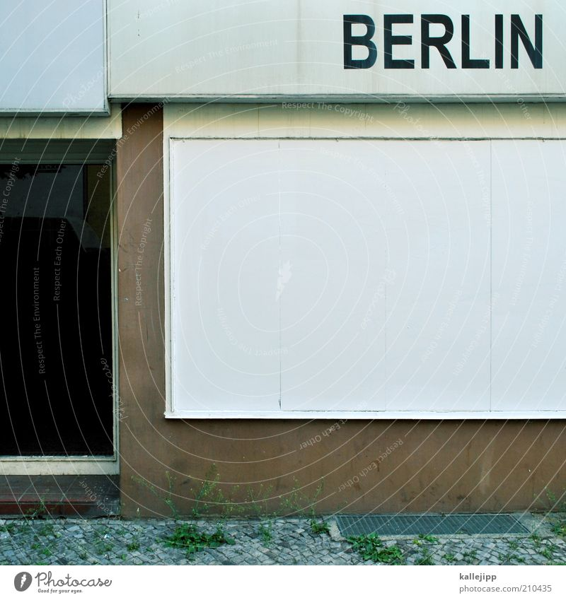 I'm here again Capital city Characters Signs and labeling Berlin Store premises Colour photo Subdued colour Deserted Day Light Shadow Contrast Copy Space middle