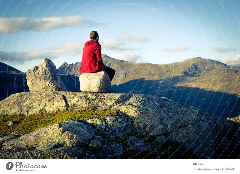 Nature Vacation & Travel Youth (Young adults) Blue Young man Landscape Red Relaxation Calm Far-off places Mountain Freedom Rock Trip Contentment Sit