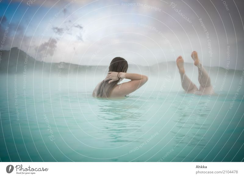 Human being Youth (Young adults) Blue Young woman Relaxation Calm Joy Life Legs Swimming & Bathing Leisure and hobbies Contentment Authentic