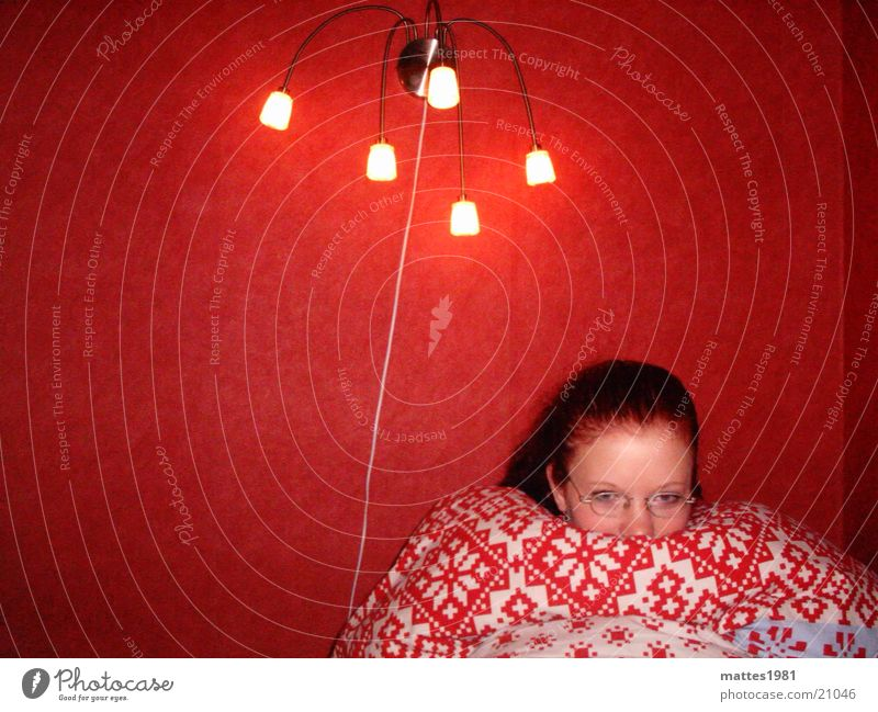 Winter may come Red Cuddling Cuddly Cold Flower Trier Room Bed Yawn Relaxation Grief Calm Withdrawn Retreat Woman Warmth Hilde Blanket Energy industry Lamp Sun