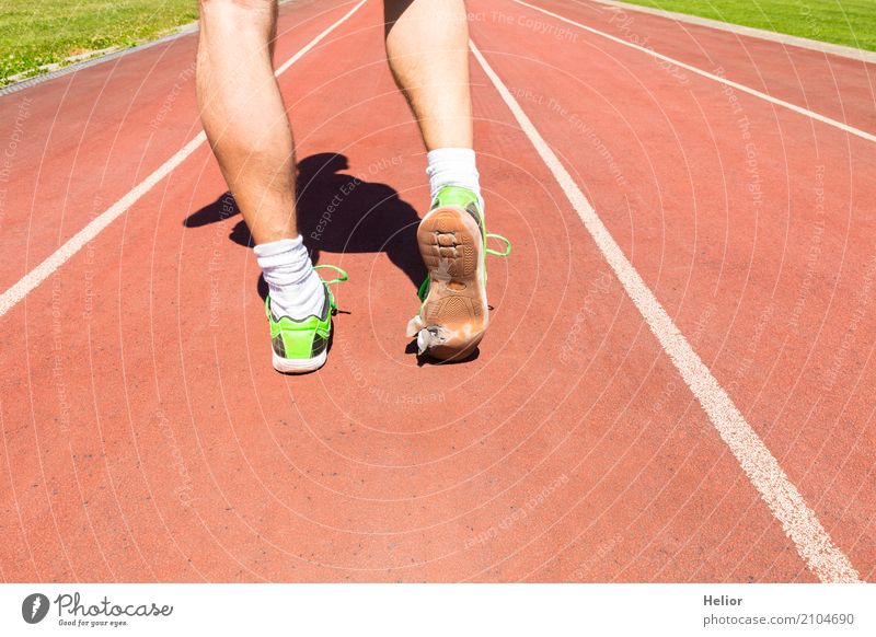 Athletes with broken green racing shoes Athletic Fitness Sports Sportsperson Loser Jogging Racecourse Masculine Man Adults Legs Feet 1 Human being 30 - 45 years