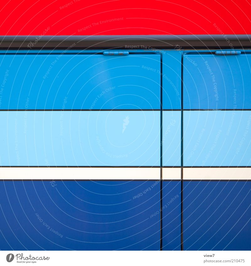 Blue Red Line Metal Design Modern Arrangement Esthetic Authentic Simple Stripe Bus Positive Geometry Vehicle