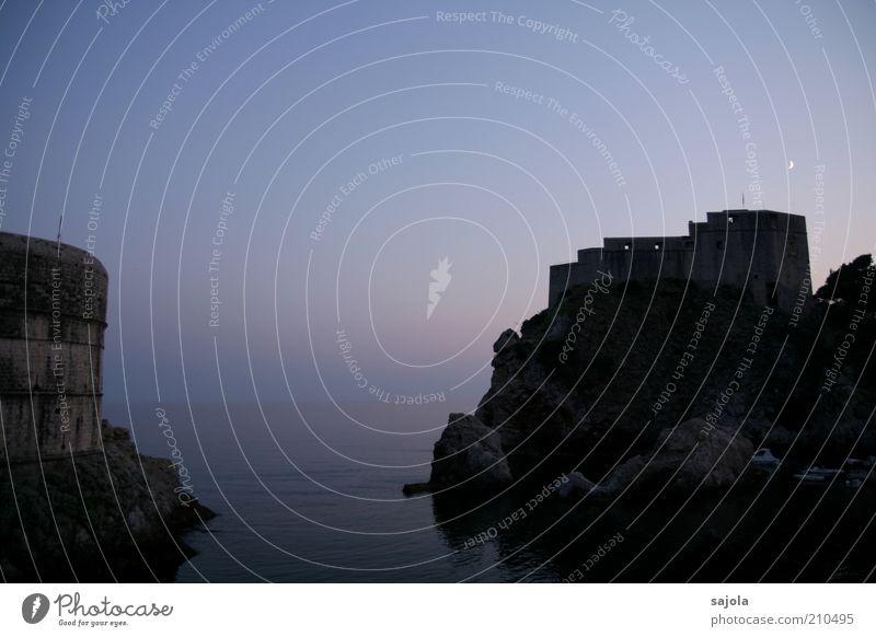Dusk in Dubrovnik Environment Landscape Elements Water Sky Moon Summer Ocean Adriatic Sea Croatia Dalmatia Dalmatian coast Europe Southeastern Europe Balkans