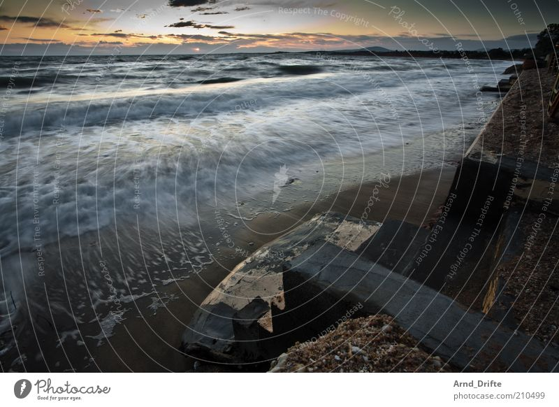 Sky Sun Ocean Summer Beach Calm Clouds Relaxation Happy Stone Coast Waves Stairs Romance Kitsch Dusk