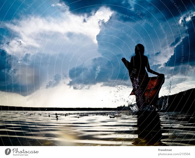 downside Human being Feminine Young woman Youth (Young adults) Woman Adults Environment Nature Landscape Water Drops of water Clouds Storm clouds Summer