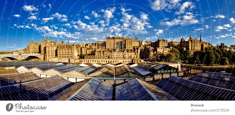 Edinburgh Tourism Far-off places Sightseeing City trip Sky Clouds Sunlight Summer Beautiful weather Scotland Europe Capital city Downtown
