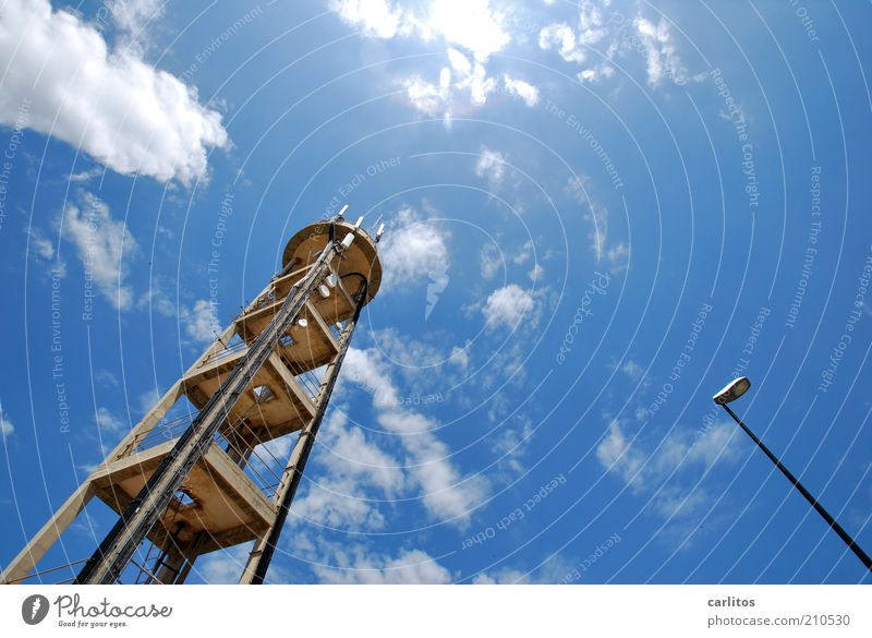 Sky Sun Blue Summer Clouds Architecture Large Tall Telecommunications Tower Lantern Manmade structures Upward Beautiful weather Street lighting