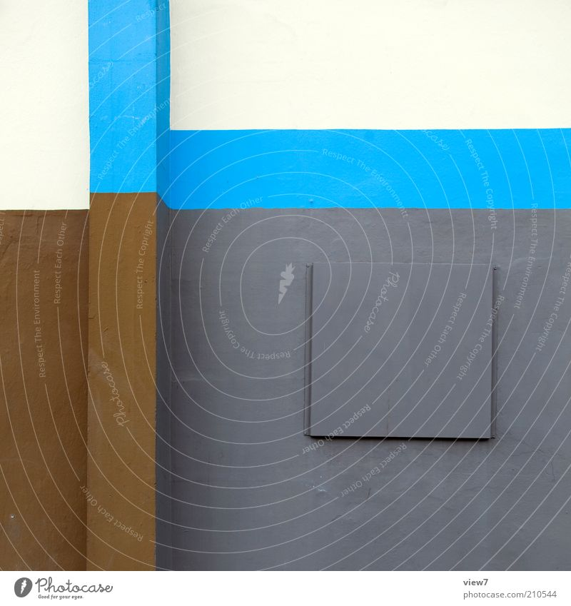 Beautiful Blue Wall (building) Gray Wall (barrier) Line Moody Background picture Design Concrete Facade Modern Arrangement Esthetic New Authentic