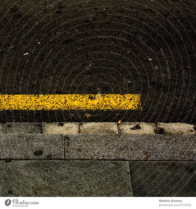 Yellow Dirty Road traffic Signs and labeling Broken Asphalt Stripe Sidewalk Lanes & trails Section of image Curbside Traffic lane Paving tiles Road sign