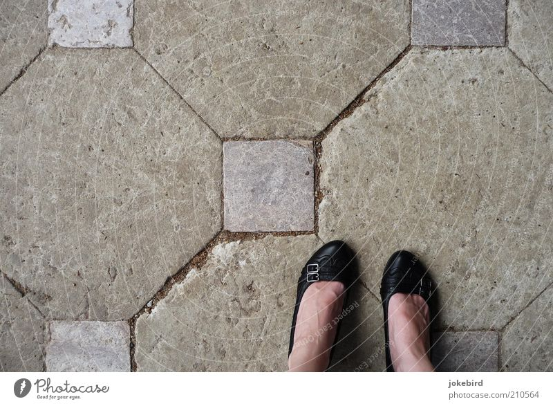 Woman Human being Black Feminine Gray Stone Feet Footwear Adults Places Stand Ground Floor covering Square Diagonal Furrow