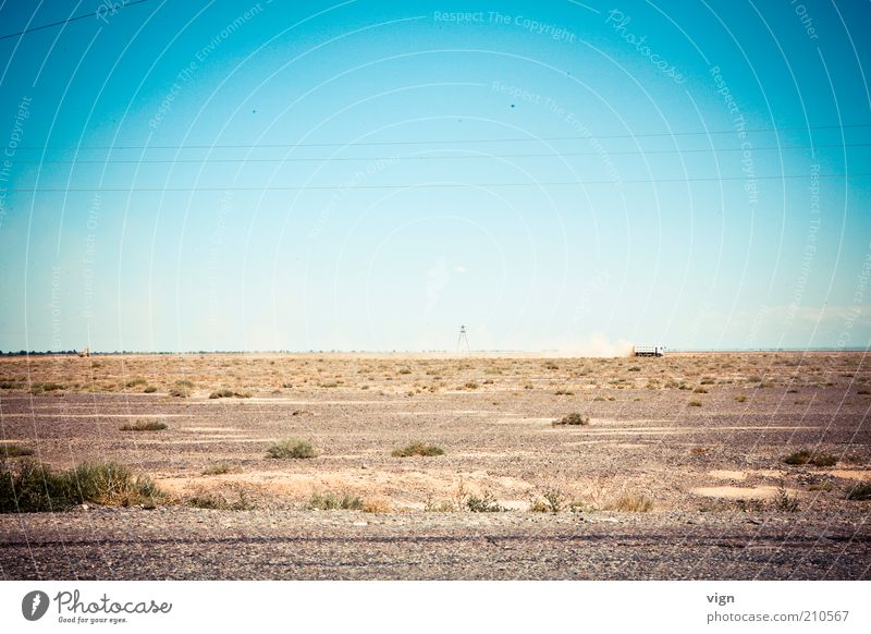 Plant Far-off places Landscape Horizon Gloomy Infinity Truck Dry Blue sky Drought Steppe Asia Cloudless sky Kazakhstan