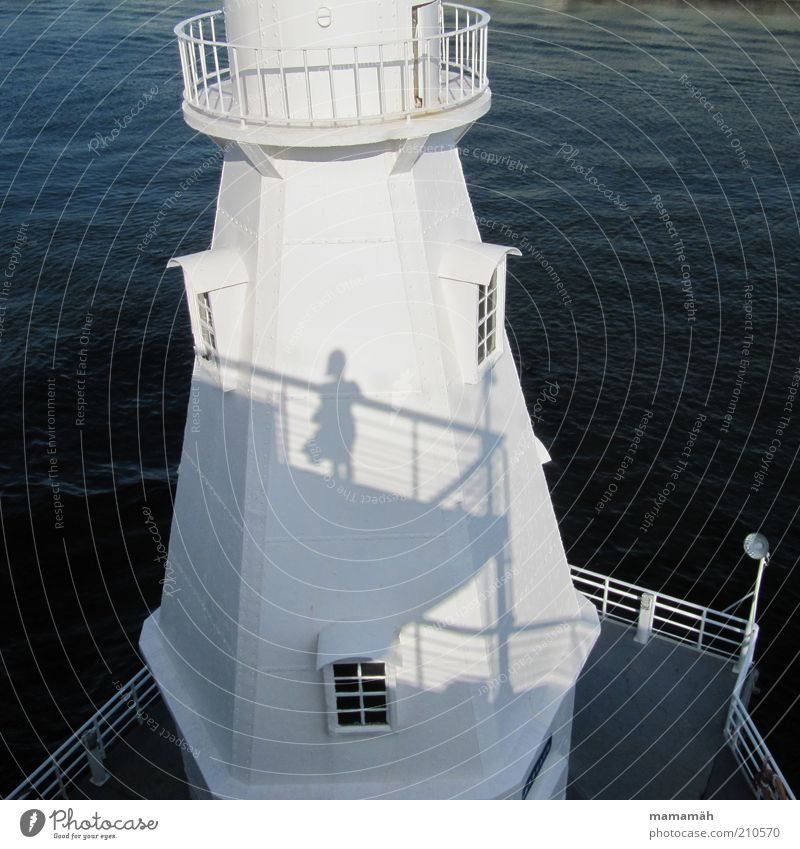 Gone with the Wind 2 Harbour Stand Lighthouse Water Shadow Watercraft Window Ocean White Railing Skirt Blow Summer Silhouette Bird's-eye view Sunlight Tower
