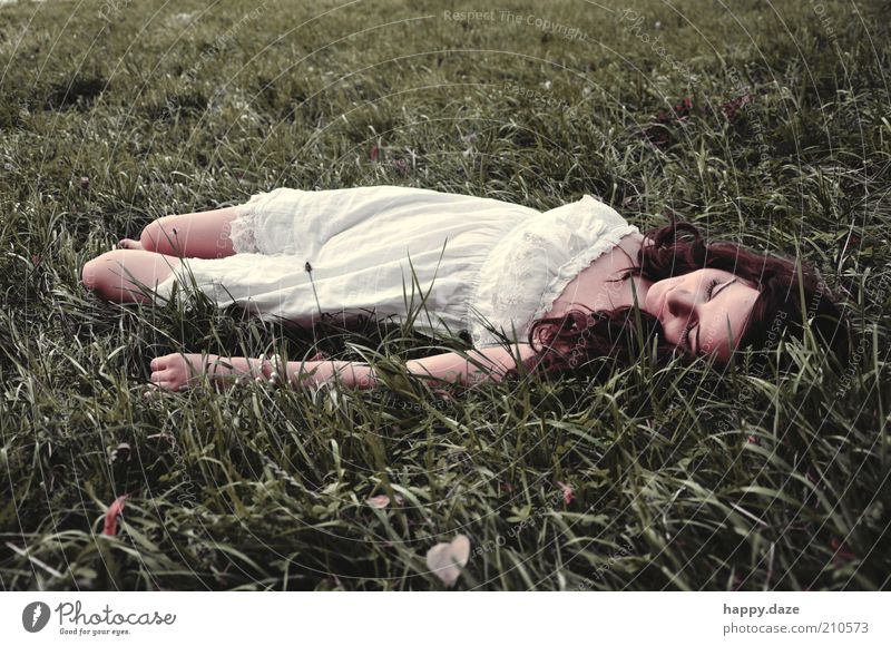 Human being Nature Youth (Young adults) Green White Beautiful Summer Feminine Meadow Freedom Grass Happy Dream Elegant Fashion Lie