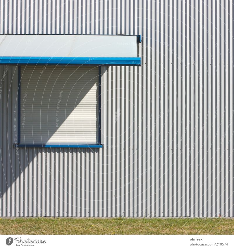 Blue House (Residential Structure) Window Gray Line Facade Closed Safety Factory Weather protection Venetian blinds Roller shutter