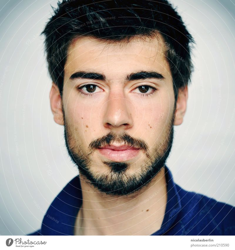Monday Portrait 05 Beautiful Face Masculine Young man Youth (Young adults) Adults Facial hair Black-haired Short-haired Moustache Observe Think Wait Esthetic