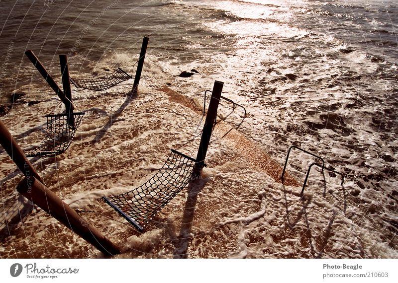 Water Ocean Lake Waves Wind Footbridge Baltic Sea Inject Surf White crest Wooden stake Hammock Sea water Kellenhusen