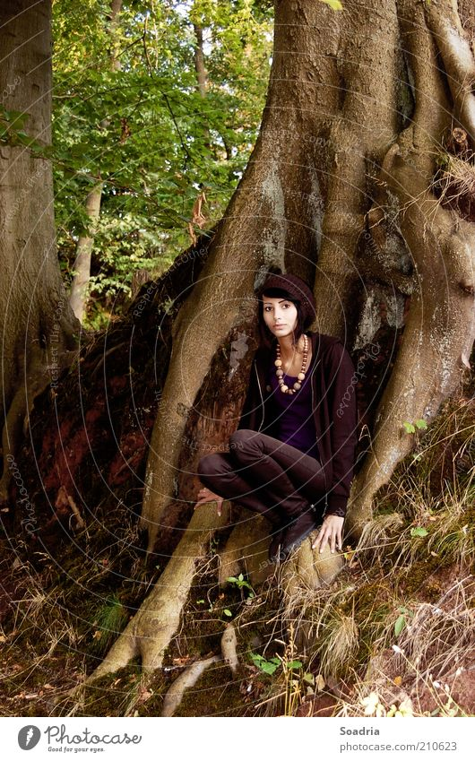 I know a place where we can carry on. Relaxation Summer Human being Feminine Young woman Youth (Young adults) Woman Adults 1 18 - 30 years Nature Tree Forest