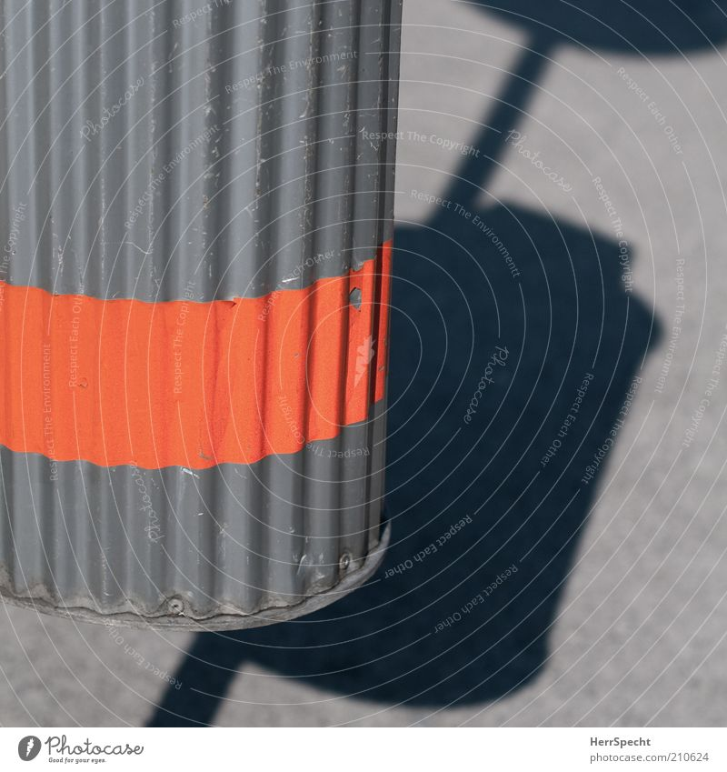 RALLEYSTREIFEN Trash container Undulating Tin Stripe Scratch mark Orange Colour photo Exterior shot Close-up Detail Deserted Copy Space right Copy Space top