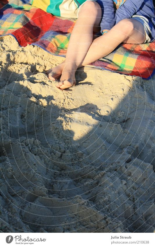 Human being Youth (Young adults) Green Blue Red Summer Beach Loneliness Yellow Feminine Feet Sand Legs Skin Adults Sit
