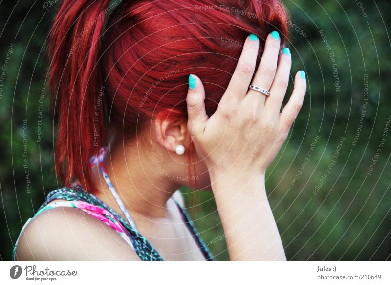 colours of the future Feminine Head 1 Human being 18 - 30 years Youth (Young adults) Adults Nature Earring Red-haired Long-haired Braids Exceptional Shame