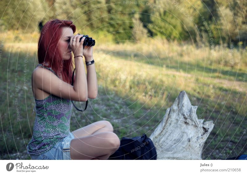 Human being Nature Red Relaxation Feminine Think Sit Observe Concentrate Top Tree trunk Interest Long-haired Red-haired Optimism