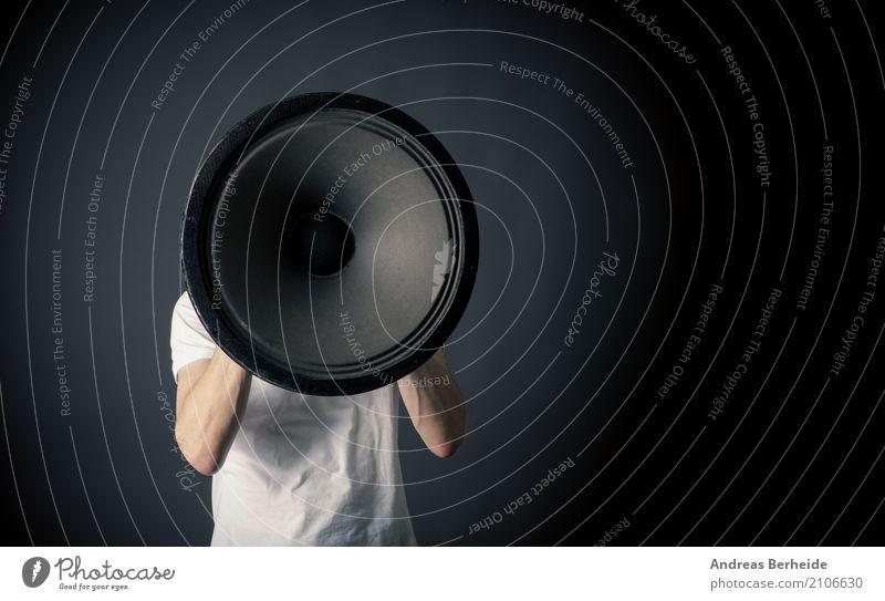 Human being Business Power Crazy Sign Businessman Loudspeaker Sound Communication Aggravation Megaphone