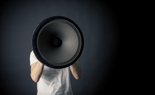 Human being Business Power Crazy Sign Businessman Loudspeaker Sound Communication Aggravation Megaphone