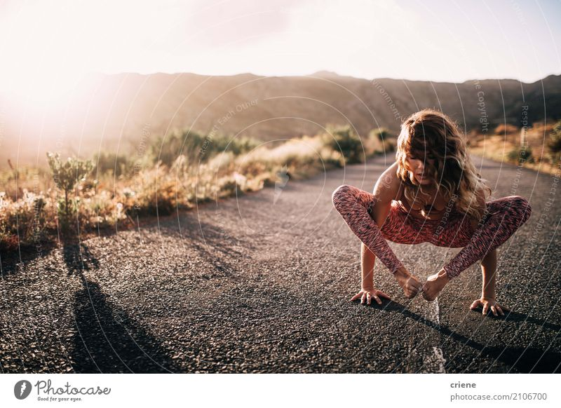 Young athlete woman doing yoga handstand Human being Youth (Young adults) Young woman Relaxation 18 - 30 years Adults Life Lifestyle Healthy Sports Feminine